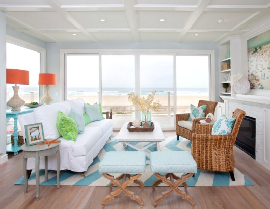 Light beachy blue and white striped rugs for coastal style living