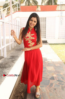 Telugu Actress Priyanka Jain Stills in Red Dress at Amazing Arts Production no 1 Movie Opening  0035.JPG