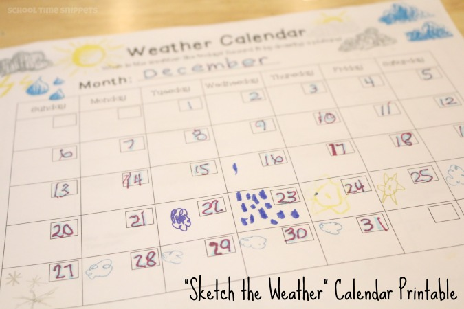 weather chart for preschool