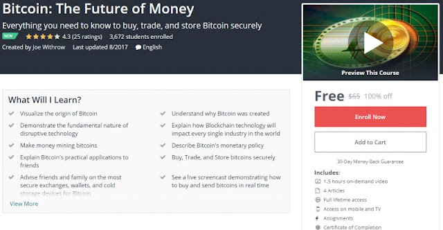 [100% Off] Bitcoin: The Future of Money| Worth 65$