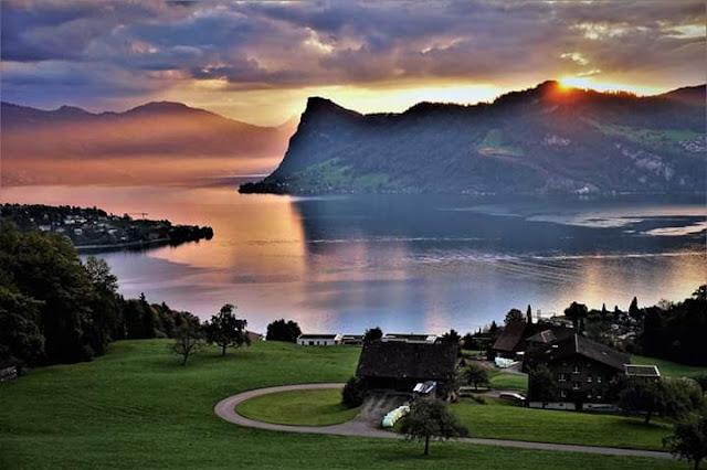 Gambar Pemandangan Alam Indah di Swiss Sunset Danau Hergiswil So Beautiful