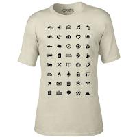 T-shirt IconSpeak avec logos et signes pour communiquer.
