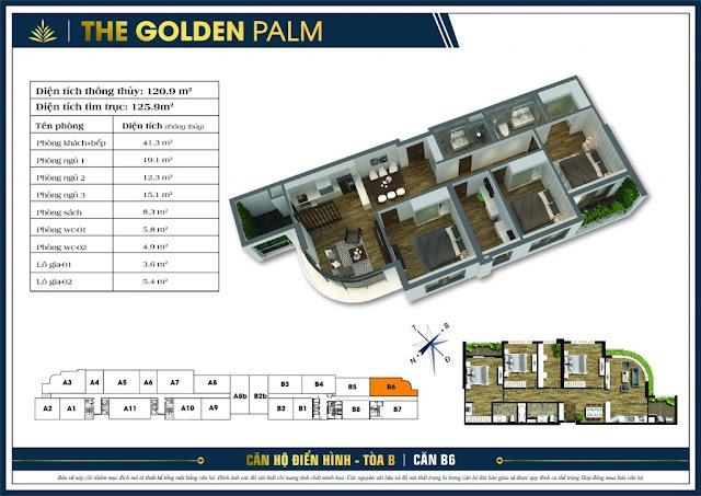 Thiết kế căn hộ B06 tòa B chung cư THE GOLDEN PALM