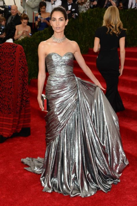Lily Aldridge in a silver Michael Kors dress at the MET Gala 2014