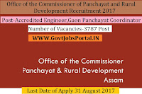 Office of the Commissioner of Panchayat and Rural Development Recruitment 2017– 3787 Accredited Engineer, Gaon Panchayat Coordinator