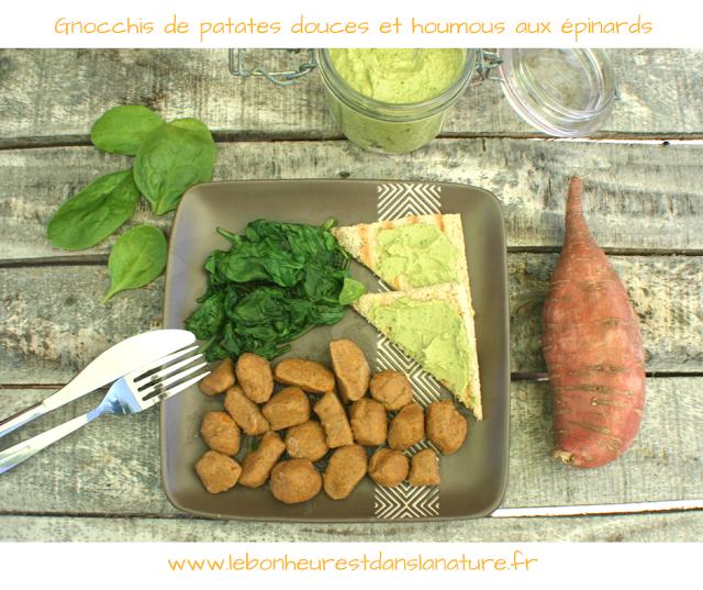 gnocchis patates douces et houmous epinards végétal vegan