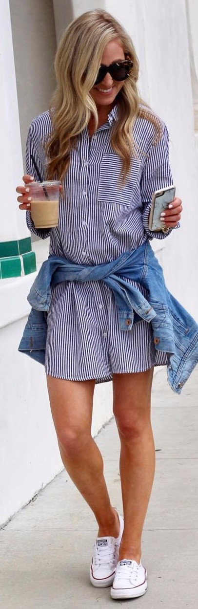 friendly summer stripes: shirt-dress + denim jacket