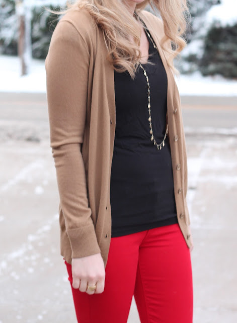 black tee, camel cardigan, red jeans, Tory Burch flats, Greg Michaels tote, red headband