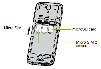Insert the SIM or microSD card as shown.