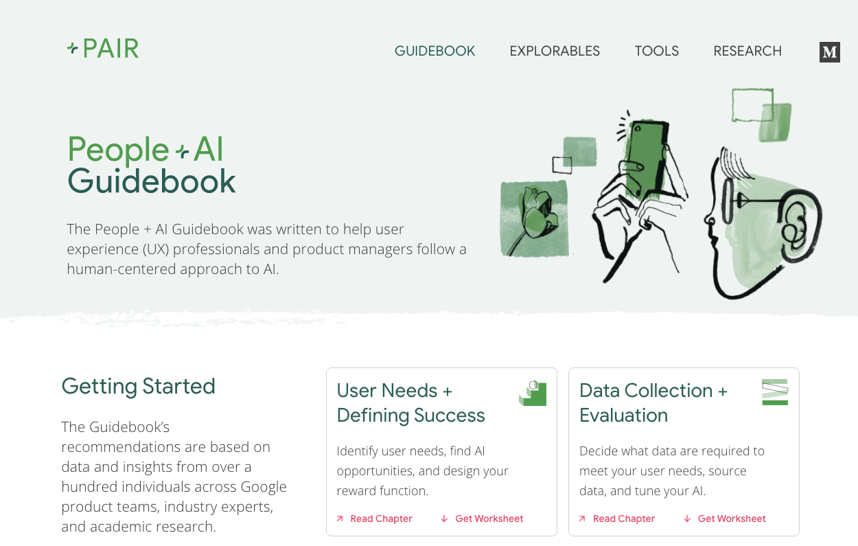 Screenshot of People + AI Guidebook