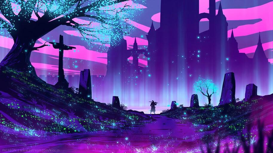 Beautiful, Fantasy, Night, Scenery, Digital Art, 4K, #6.1040
