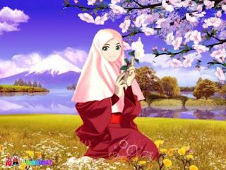 kartun muslimah imut dikebun bunga