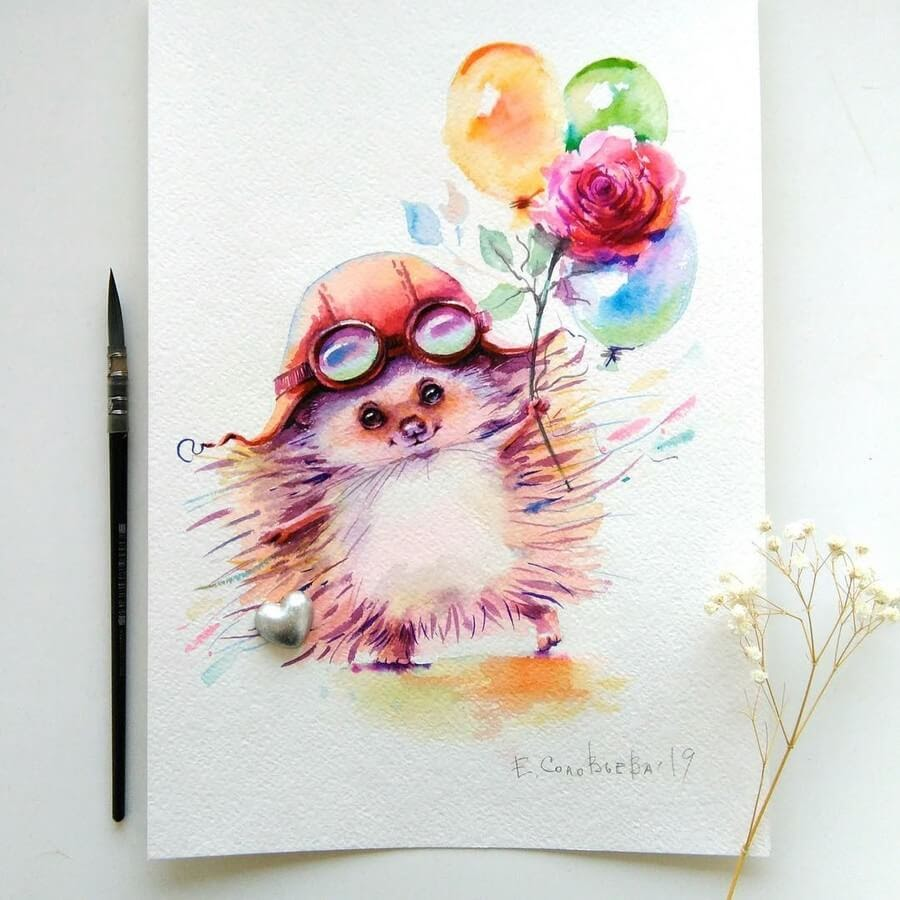 07-Hedgehog-Aviator-Evgeniya-Solovyova-Fantasy-Animals-Watercolor-Paintings-www-designstack-co