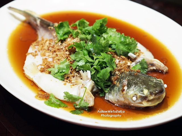 Steamed River Patin With Preserved Vegetables & Onion RM 200 Per kg