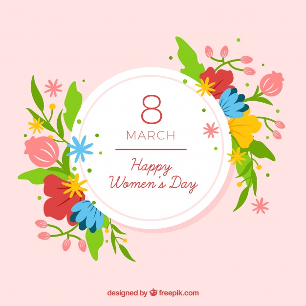 Flat background for women's day with flowers Free Vector