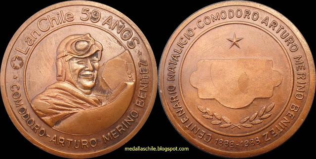 Medalla Arturo Merino Benitez - Lan Chile 59 años 1988