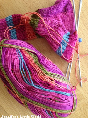 Sock knitting in progress