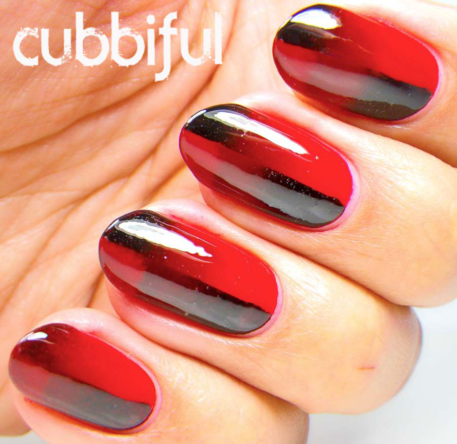 Red and Black Scaled Gradient Nails