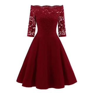 Vestido color vino con encaje