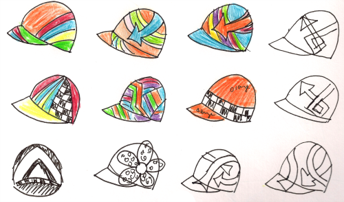 Helmet hat design sketches