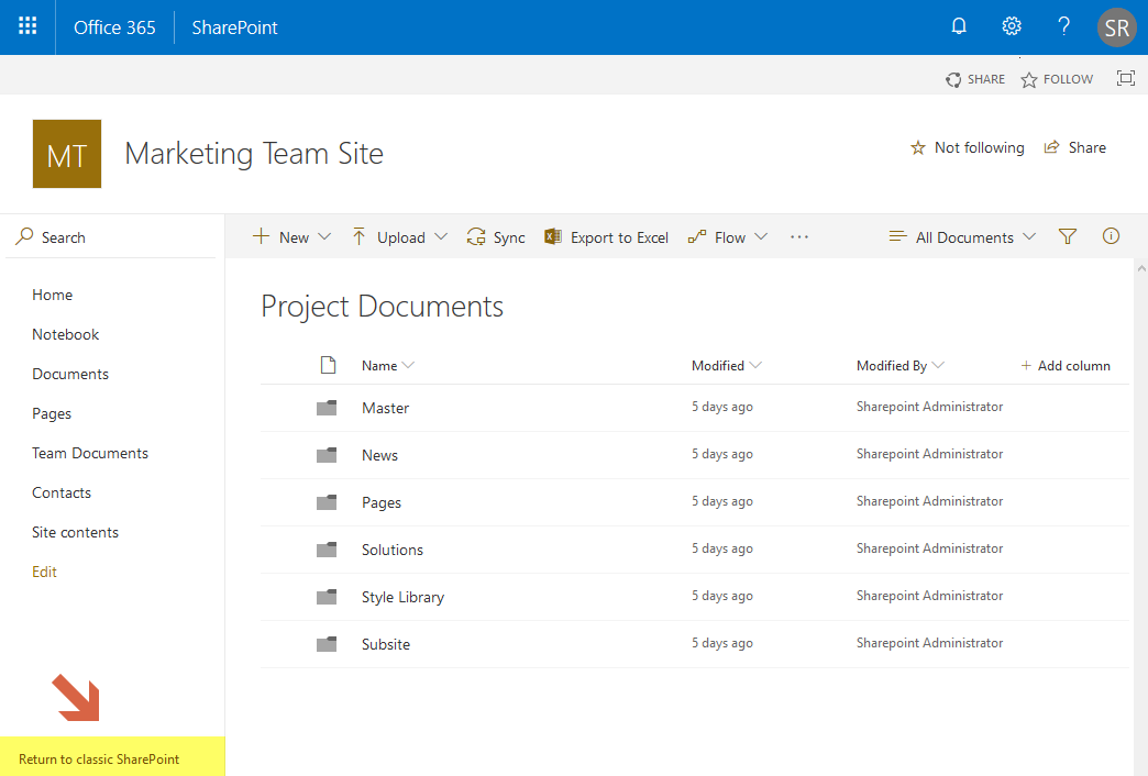 sharepoint online enable modern experience