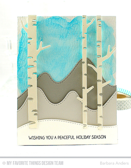 Handmade card from Barbara Anders featuring Winter Wonderland stamp set, Stitched Mountain Range, Stitched Snow Drifts, and Birch Trees Die-namics #mftstamps