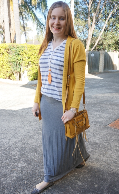stripe henely, maxi skirt, mustard yellow cardigan, Rebecca Minkoff micro Regan | Away From Blue