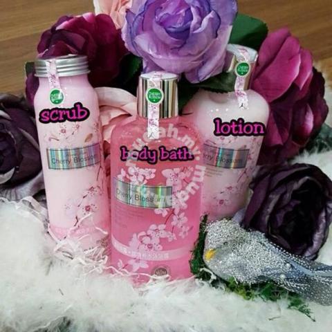 set mandian cherry blossom, flower pure cherry blossom, badan secantik wajah, cara putihkan badan, pemutih badan