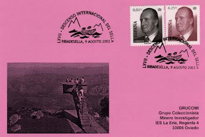 Tarjeta del 67 Descenso Internacional del Sella. Piraguas 2003