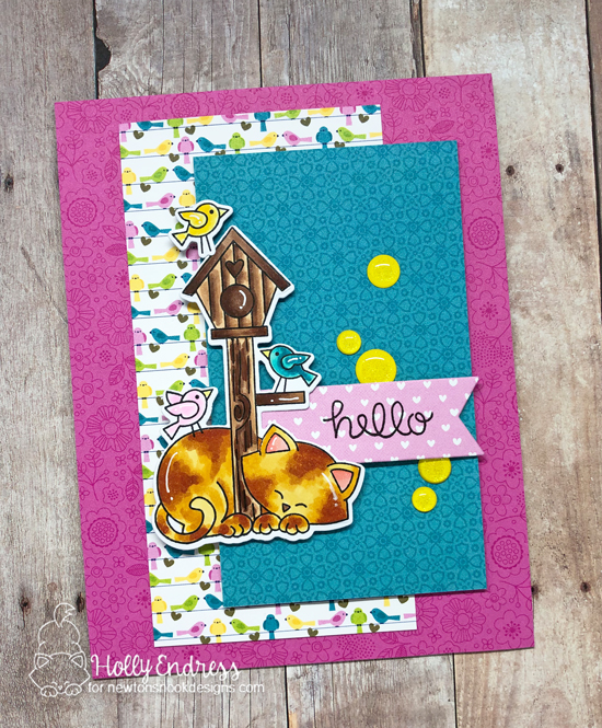 Cat and Birdhouse card by Holly Endress | Newton's Birdhouse Stamp Set by Newton's Nook Designs #newtonsnook #handmade