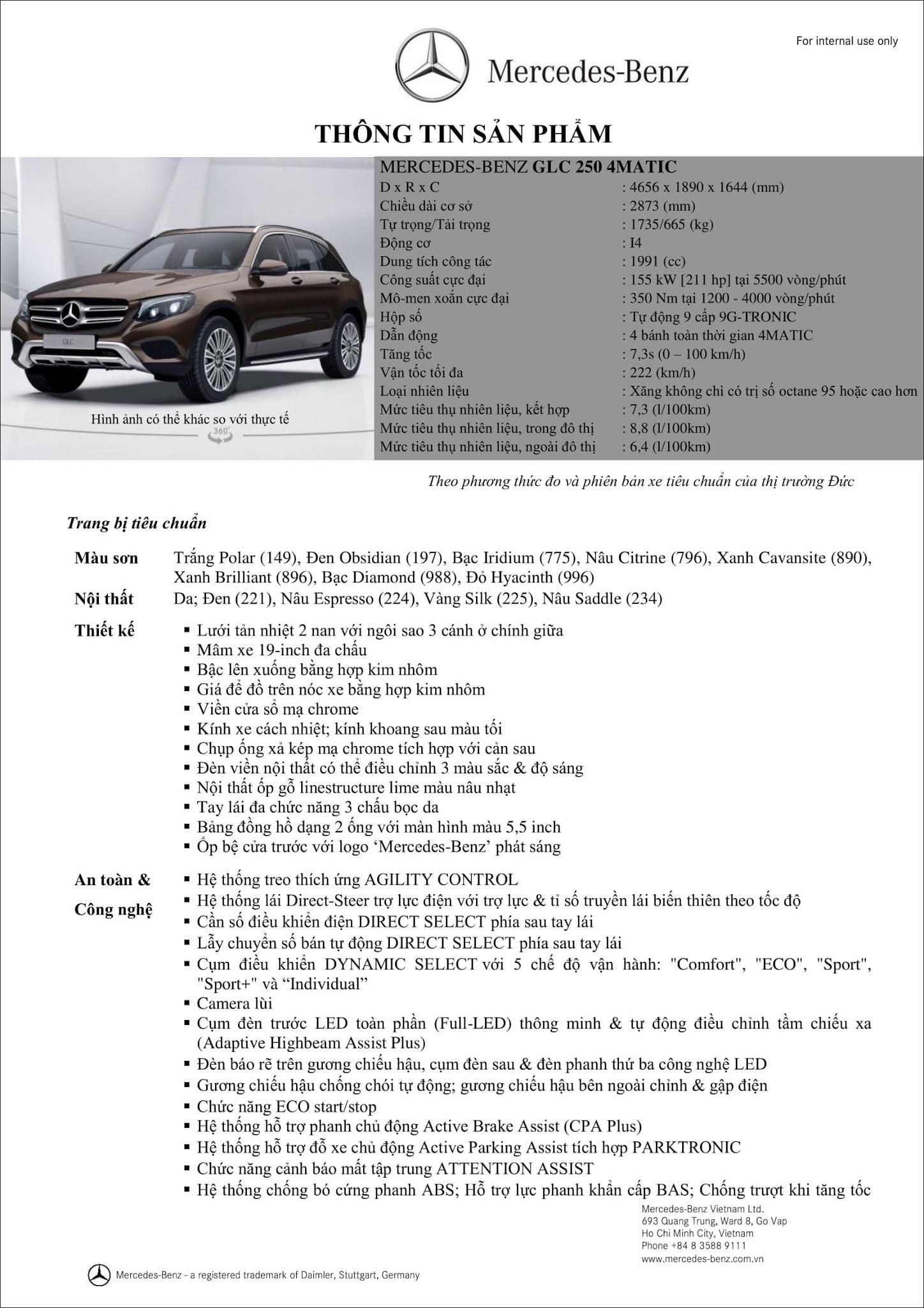 Bảng thông số kỹ thuật Mercedes GLC 250 4MATIC 2019 mới nhất từ Mercedes Việt Nam