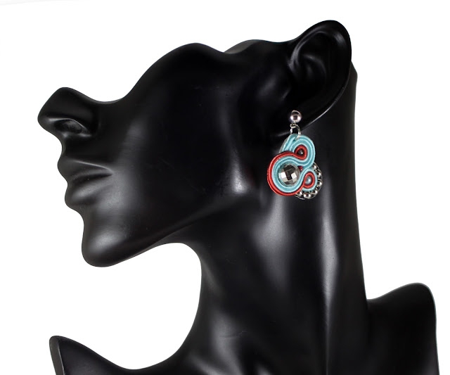 Small casual blue soutache earrings, soutache handmade jewelry