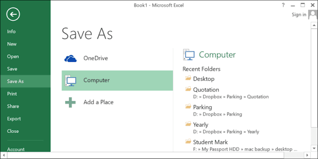 save as in excel rean computer101