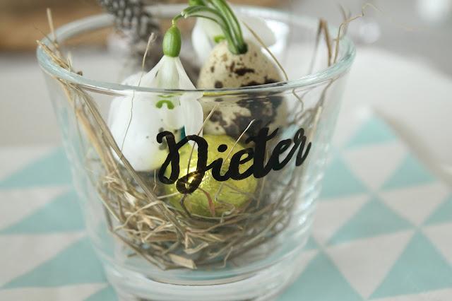 Ostertisch Taufe DIY Osternest Platzkarte Tischkarten Jules kleines Freudenhaus