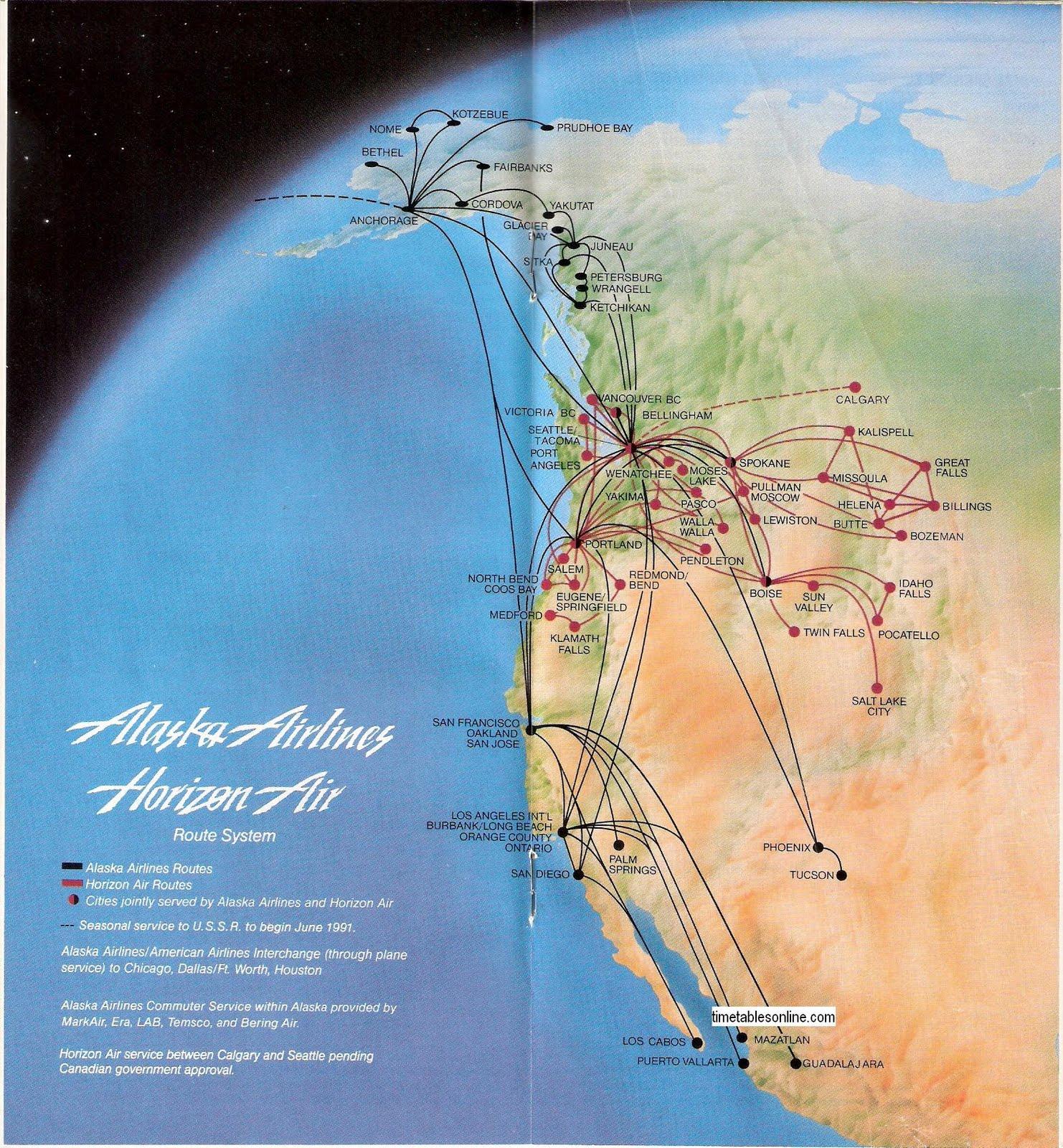 Airline Timetables Alaska Airlines June 1991