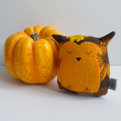 handmade vintage fabric sleepy owl lavender sachet and pumpkin