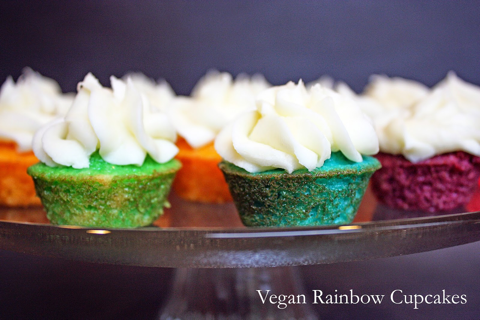 vegan rainbow mini cupcakes with salted almond buttercream