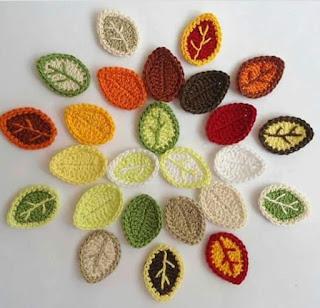 Folhas de crochê para aplicação delicadas