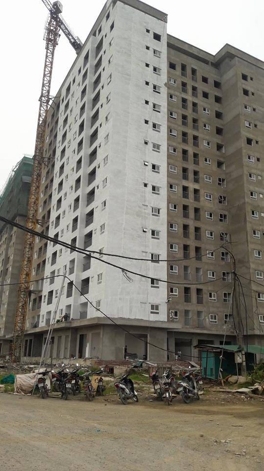 Cận cảnh tòa HH01A chung cư HH01 Thanh Hà