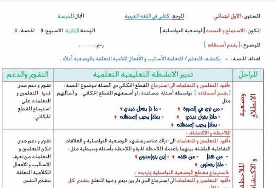 جذاذاذت الوضعية التواصلية للمستوى الاول الوحدة 2 الاسبوع 3 كتابي في اللغة العربية