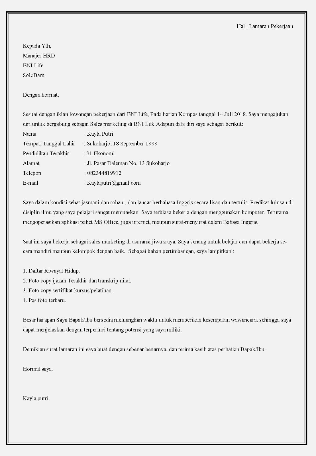 Contoh surat lamaran kerja di bank bni life