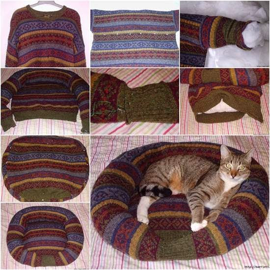 http://wonderfuldiy.com/wonderful-diy-pet-bed-from-old-shirt-sweater/#