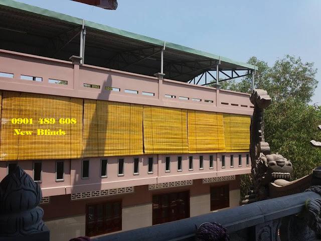 mành tre che nắng công trình nhà chùa quận 2