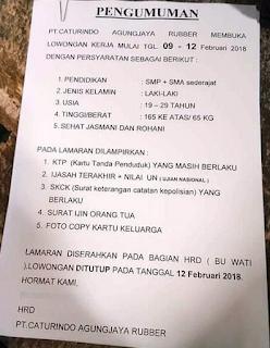 Loker Lowongan Kerja PT Caturindo Agung Jaya Rubber Bandung 2018