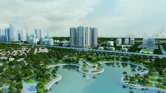 View công viên hồ điều hòa dự án Eco Dream