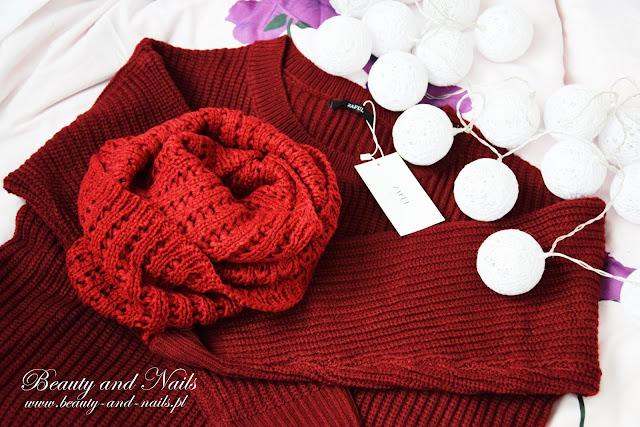 ZAFUL | bordowy sweterek, komin i śnieżynki.