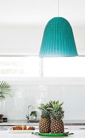Turquoise Painted Basket Hanging Light Pendant