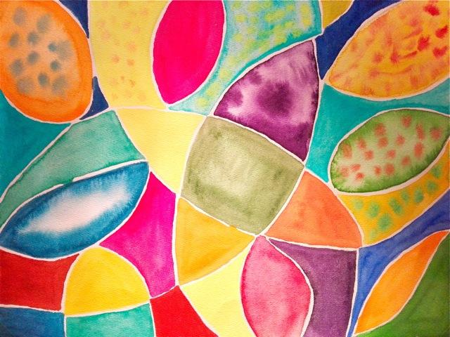Aquarellbild mit bunten Blättern und weissen Linien.