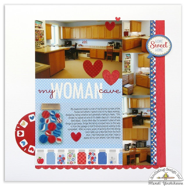 Doodlebug Design: Yankee Doodle My Woman Cave All About Me Scrapbook Layout by Mendi Yoshikawa