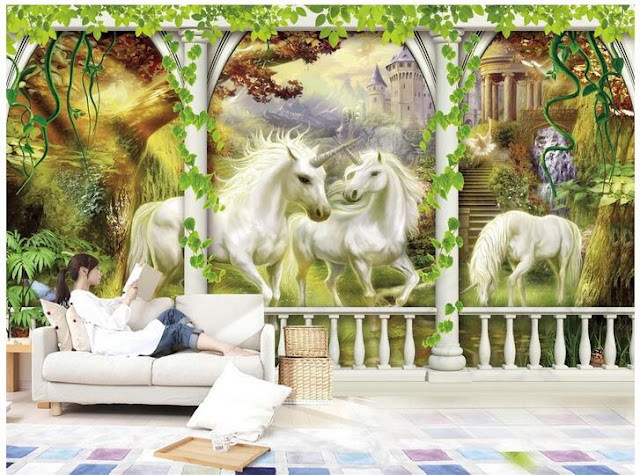 Unicorn wall mural Large unicorn Wallpaper for rooms mural wonderland wallpapers